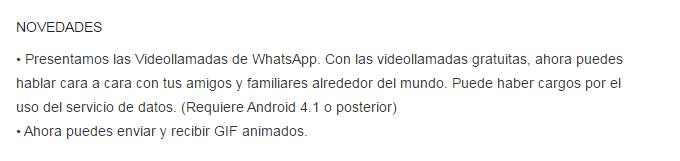 Descripción de novedades de Whatsapp en Playstore